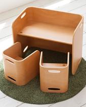 [TVで紹介]天然ブナ材を使用! ベビー用の椅子と子供机セット